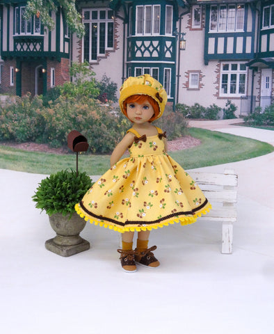 Brown Sugar - dress, hat, socks & saddle shoes for Little Darling Doll or other 33cm BJD