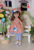 Bunnies at Play - babydoll top, capris, beret & sandals for Little Darling Doll
