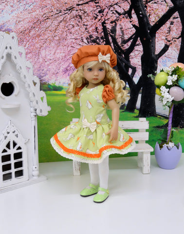 Bunny Nibbles - dress, beret, tights & shoes for Little Darling Doll