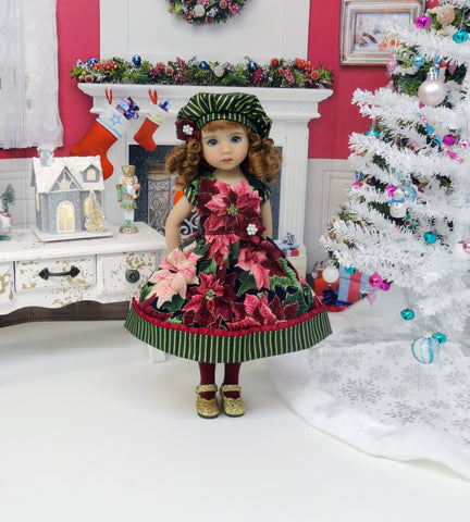 Burgundy Poinsettias - dress, hat, tights & shoes for Little Darling Doll or 33cm BJD