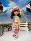 Butterfly Garden - romper, hat, socks & shoes for Little Darling Doll or other 33cm BJD