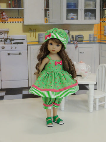 Candied Cherries - babydoll top, bloomers, hat & sandals for Little Darling Doll