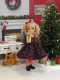Candy Cane Cutie - dress, tights & shoes for Little Darling Doll or 33cm BJD