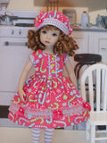 Candy Cane Kid - dress, hat, tights & shoes for Little Darling Doll or 33cm BJD