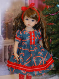 Candy Cane Lane - dress, tights & shoes for Little Darling Doll or 33cm BJD