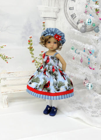 Cardinals in Blue - dress, hat, tights & shoes for Little Darling Doll or 33cm BJD