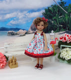 Caribbean Flamingo - dress & sandals for Little Darling Doll or 33cm BJD