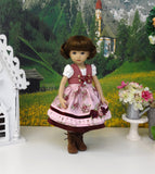 Carinthian Rose - dirndl ensemble with tights & boots for Little Darling Doll or 33cm BJD