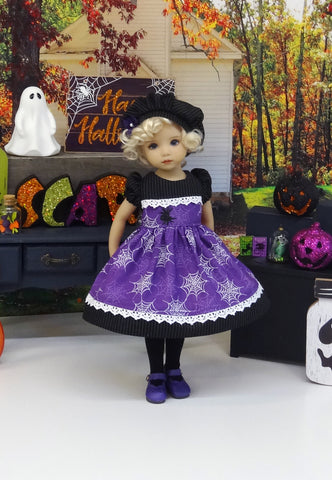 Caught in Spider Webs - dress, beret, tights & shoes for Little Darling Doll or 33cm BJD