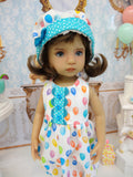 Let's Celebrate - Aqua - romper, hat, socks & shoes for Little Darling Doll or other 33cm BJD