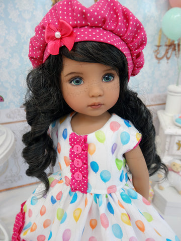 Let's Celebrate - Fuchsia - dress, hat, tights & shoes for Little Darling Doll or 33cm BJD