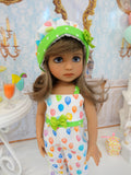 Let's Celebrate - Lime Green - romper, hat & shoes for Little Darling Doll or 33cm BJD