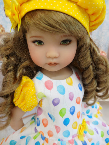 Let's Celebrate - Yellow - dress, beret, tights & shoes for Little Darling Doll or other 33cm BJD