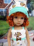 Cheeky Monkey - romper, hat & sandals for Little Darling Doll or 33cm BJD