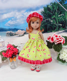Cheery Cherry - dress, jacket, hat, socks & shoes for Little Darling Doll or 33cm BJD
