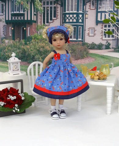 Cherries Jubilee - dress, kerchief, socks & shoes for Little Darling Doll or 33cm BJD