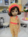 Cherry Berries - romper, hat & sandals for Little Darling Doll or 33cm BJD