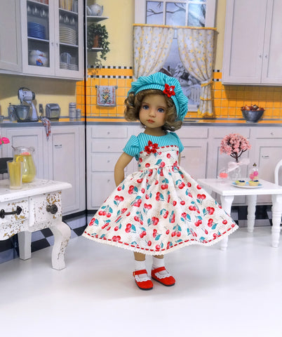 Cherry Cheesecake - dress, hat, socks & shoes for Little Darling Doll or 33cm BJD