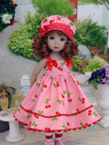 Cherry Cobbler - dress, hat, tights & shoes for Little Darling Doll