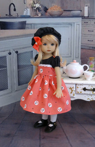 Cherry Cordial - dress, hat, tights & shoes for Little Darling Doll