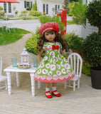 Cherry Crumble - dress, hat, socks & shoes for Little Darling Doll or 33cm BJD