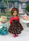 Cherry Delight - dress, hat, tights & shoes for Little Darling Doll or 33cm BJD