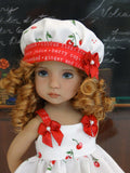 Cherry Fizz - dress, hat, tights & shoes for Little Darling Doll