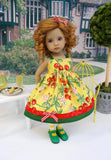 Cherry Pickin' - dress, tights & shoes for Little Darling Doll or 33cm BJD