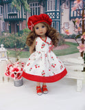 Cherry Red - dress, hat, & sandals for Little Darling Doll or 33cm BJD