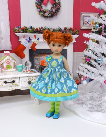 Christmas Baubles - dress, tights & shoes for Little Darling Doll or 33cm BJD