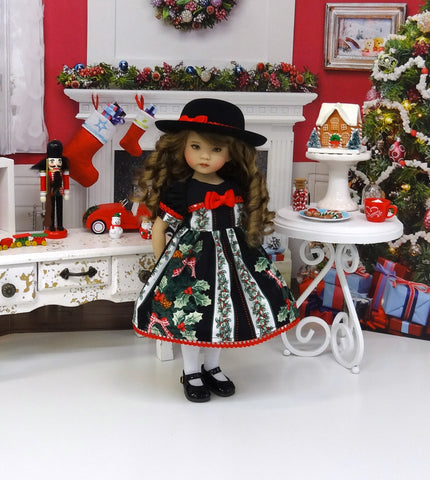 Christmas Bough - dress, hat, tights & shoes for Little Darling Doll or 33cm BJD