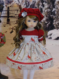 Christmas Cardinal - dress, hat, tights & shoes for Little Darling Doll or 33cm BJD