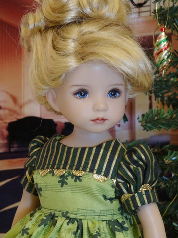 Christmas Carols - dress, tights & shoes for Little Darling Doll