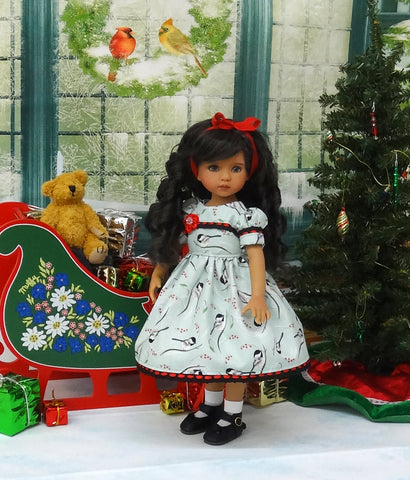 Christmas Chickadee - dress, socks & shoes for Little Darling Doll or 33cm BJD