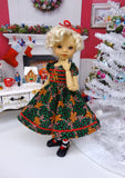 Christmas Gingerbread - dress, tights & shoes for Little Darling Doll or 33cm BJD