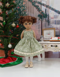 Christmas Greenery - dress, sweater, tights & shoes for Little Darling Doll or 33cm BJD