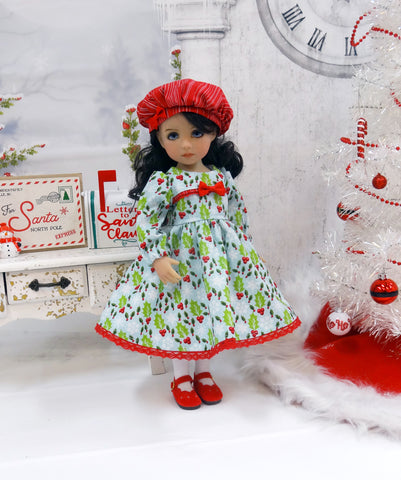 Christmas Holly - dress, hat, tights & shoes for Little Darling Doll or 33cm BJD