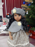 Christmas Kisses - capelet, beret, dress, tights & shoes for Little Darling Doll or 33cm BJD