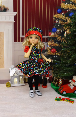 Christmas Lights - dress, hat, tights & shoes for Little Darling Doll or 33cm BJD