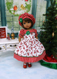 Christmas Peppermint - dress, hat, tights & shoes for Little Darling Doll or 33cm BJD