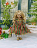 Christmas Plaid - dress, tights & shoes for Little Darling Doll or other 33cm BJD
