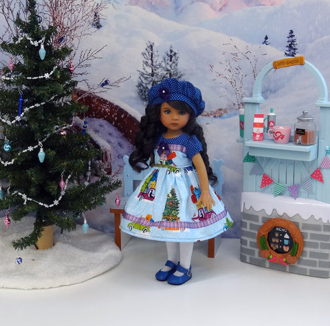 Christmas Road Trip - dress, hat, tights & shoes for Little Darling Doll or 33cm BJD