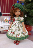 Christmas Rose - dress, hat, tights & shoes for Little Darling Doll or 33cm BJD