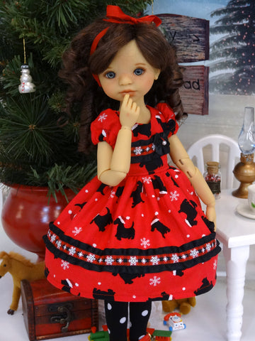 Christmas Scottie - dress, tights & shoes for Little Darling Doll or 33cm BJD