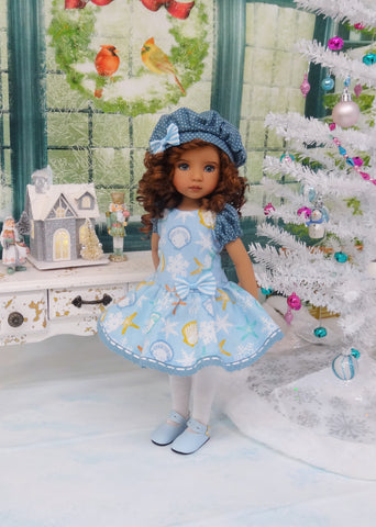 Christmas Seashells - dress, beret, tights & shoes for Little Darling Doll or other 33cm BJD