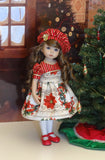 Christmas Song - dress, hat, tights & shoes for Little Darling Doll or 33cm BJD