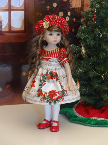 christmas song dress hat tights shoes for little darling doll or 33cm - Red Shoes Christmas Song