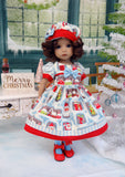 Christmas Village - dress, hat, tights & shoes for Little Darling Doll or 33cm BJD