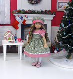 Christmas Wreaths - dress, hat, tights & shoes for Little Darling Doll or 33cm BJD