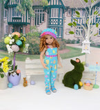 Colored Easter Eggs - romper, hat & sandals for Little Darling Doll or 33cm BJD